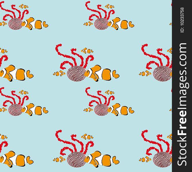 Seamless clownfish pattern