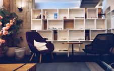 Free Bookcase, Bookshelves, Chairs, Empty Stock Image - 102380591