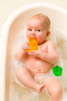 Free Baby With Rubber-duck Stock Images - 10241014