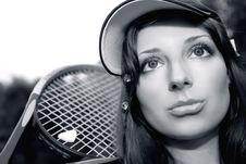 Free Pretty Tennis Player In Monochrome Stock Photo - 10243800