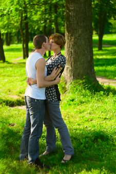 Free Kissing Couple In Park Royalty Free Stock Images - 10245279