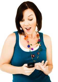 Free Young Woman Text Messaging Stock Photos - 10245673