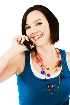 Free Portrait Of Woman Talking On Mobile Royalty Free Stock Images - 10245759