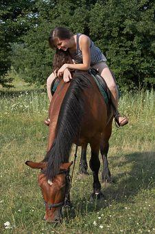 Free Girl Sits On Horseback Stock Photo - 10245900
