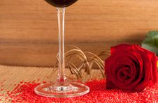 Free Red Rose And Wine Glass Royalty Free Stock Image - 10246316