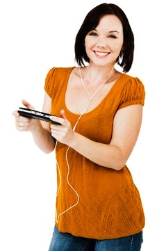 Free Beautiful Woman Listening Media Player Royalty Free Stock Images - 10246409