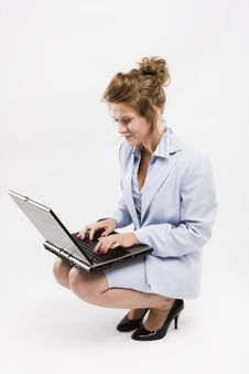 Young Businesswoman With The Laptop Stock Photography