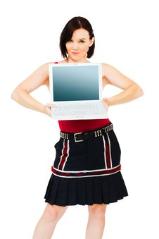 Free Portrait Of Woman Holding Laptop Royalty Free Stock Images - 10247059