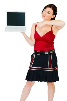Free Portrait Of Woman Holding Laptop Royalty Free Stock Image - 10247076