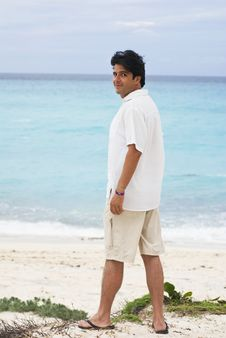 Free Man In Caribbean Beach Stock Image - 10247791