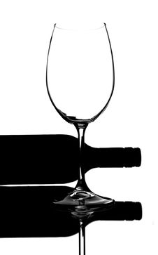Wine Glass And Bottle Silhouette Royalty Free Stock Photo