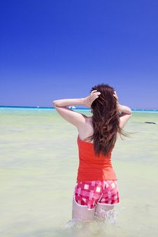 Free Woman Going Into The Water Royalty Free Stock Image - 10249526