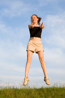 Free Woman Jump In Field Royalty Free Stock Images - 10249669