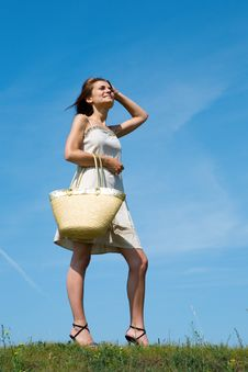 Beauty Woman With Bag Royalty Free Stock Image