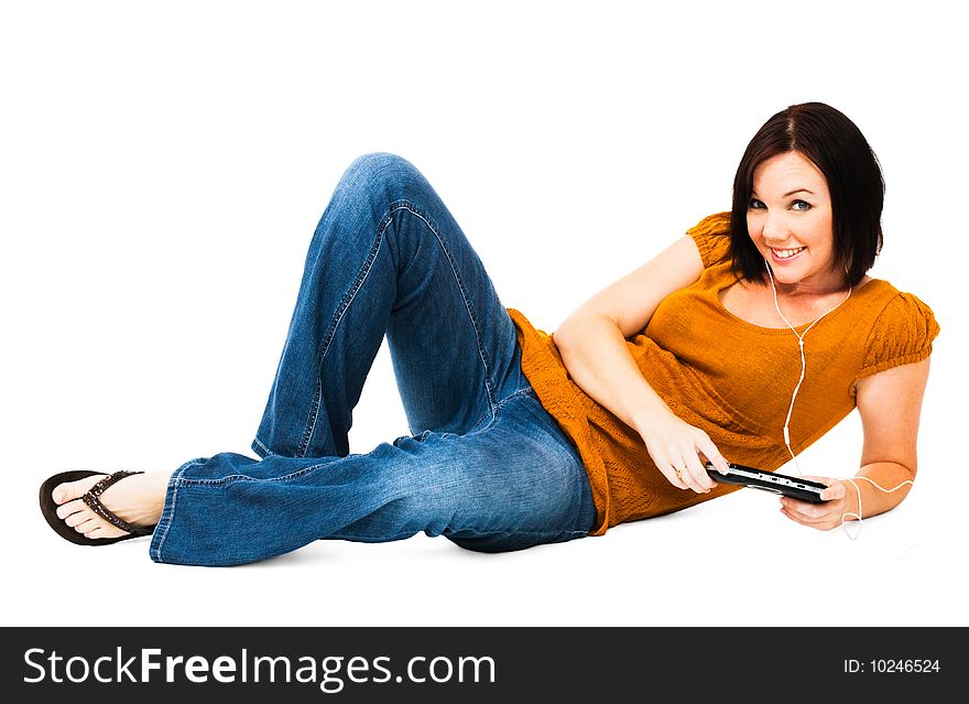Woman listening media player