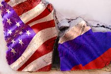 Symbol Of Crisis Relations Between Countries. Square Log Wood With Flags Of USA And Russia Stock Images
