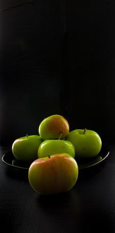 Apples On A Black Background Stock Photo