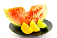 Watermelon With Wedge Of Lemon, Lime And Orange Royalty Free Stock Image