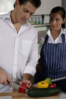 Free Young Couple In Kitchen Royalty Free Stock Photo - 10250775