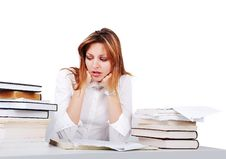 Free Worried Girl Between Lot Of Books Royalty Free Stock Image - 10253976