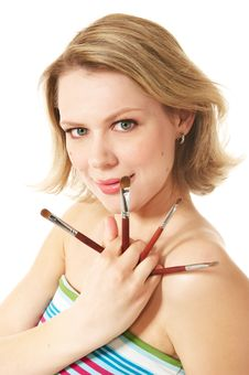 Make-up Brushs Royalty Free Stock Images