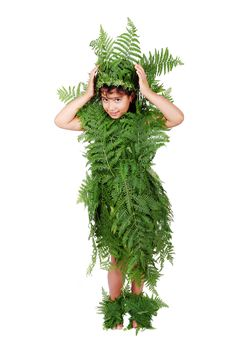 Free Pretty Little Girl Dressed In Green Plant Leafs Stock Photos - 10254843
