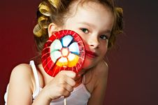 Free Little Girl With Lollipop Stock Photo - 10255000