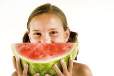 Young Girl Watermelon Smile Stock Images