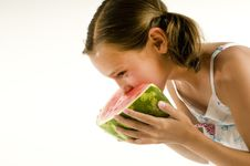 Free Young Girl Eating A Watermelon Stock Photos - 10255283