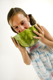 Free Young Girl Eating A Watermelon Stock Image - 10255291
