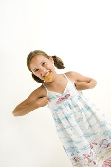 Free Young Girl Acting Like A Chicken Stock Photo - 10255310