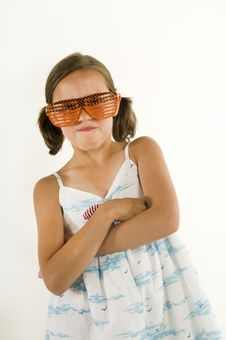 Free Young Girl Acting Tough With Sunglasses Stock Photography - 10255312