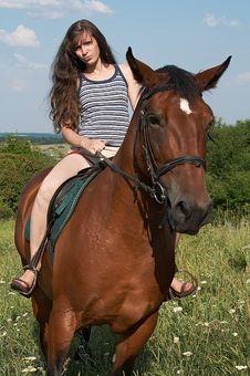 Free Girl Sits On Horseback Stock Photography - 10256202