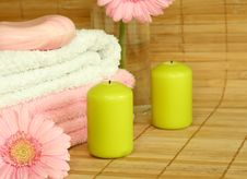 Free Towels, Candles, Soap And Pink Gerber. Stock Photo - 10256460