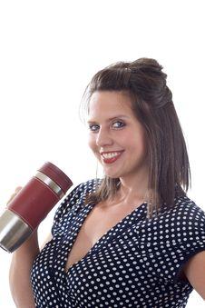 Free Young Business Woman Holding Mug Stock Photography - 10256862