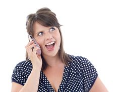 Free Happy Young Woman On Her Cell Phone Stock Images - 10256884