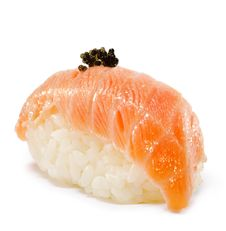 Japanese Cuisine - Salmon Sushi Royalty Free Stock Photos