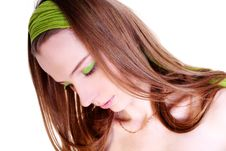 Free Girl In Green Make-up Stock Image - 10260291