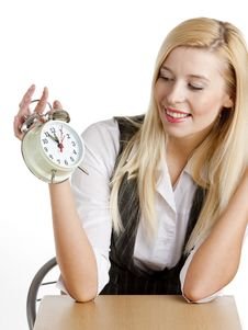 Free Businesswoman With An Alarm Clock Royalty Free Stock Photos - 10260598