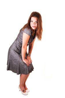 Pretty Girl In Gray Dress. Royalty Free Stock Photos