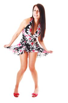 Woman Lifting Up Her Dress. Stock Image