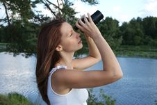 Girl With Binoculars Royalty Free Stock Photo