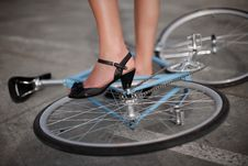 Free A Girl With Blue Bike Stock Images - 10264964