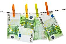 Euro Banknotes On A Rope