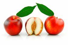 Free Ripe Sliced Peach (Nectarine) Royalty Free Stock Photo - 10265295
