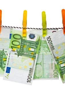 Free Euro Banknotes On A Rope Stock Photo - 10265640