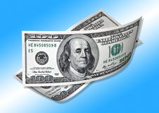 Free One Hundred Dollars On Blue Background Stock Photography - 10265962