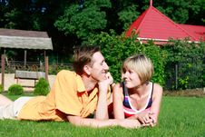 Free Young Couple On Grass Royalty Free Stock Photos - 10266158