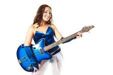 Free Sexy Girl Playing The Guitar Royalty Free Stock Image - 10266976
