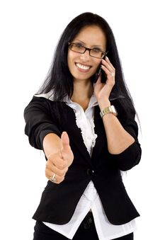 Free Attractive Businesswoman On The Phone Ok Sign Royalty Free Stock Photo - 10267295